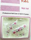 Ногти накладные в пакете, 12 шт с рисунком цветочки клейкой основой, фото 3