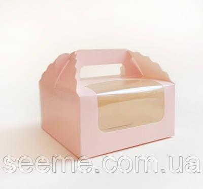 Коробка для 4 капкейков 170х170х85 мм, цвет нежно-розовый
