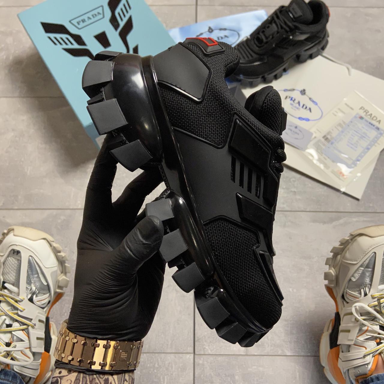 Кроссовки женские Prada Cloudbust Thunder Triple Black. Стильные женские кроссовки.
