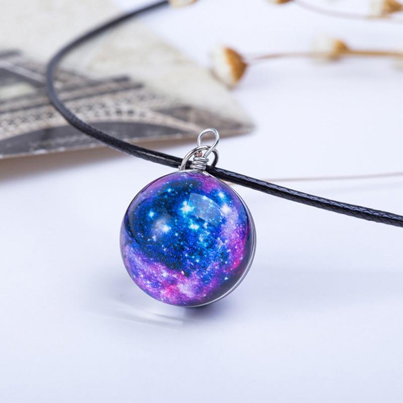 """Красивый светящийся кулон на шею, прозрачный шарик космический """"Galaxy"""" (фиолетовый)"""