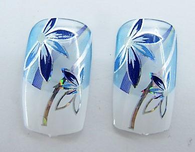 Ногти накладные в пакете, 12 шт с рисунком цветочки синие клейкой основой