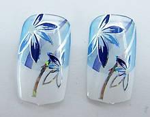 Нігті накладні в пакеті, 12 шт з малюнком сині квіточки клейкою основою