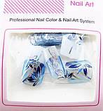 Ногти накладные в пакете, 12 шт с рисунком цветочки синие клейкой основой, фото 3