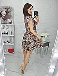 Платье летнее с пышной юбкой из натуральной ткани цветочный принт р.42-44,46-48,50-52 код 285/1Э, фото 5