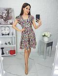 Платье летнее с пышной юбкой из натуральной ткани цветочный принт р.42-44,46-48,50-52 код 285/1Э, фото 4
