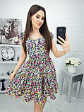 Платье летнее с пышной юбкой из натуральной ткани цветочный принт р.42-44,46-48,50-52 код 285/1Э, фото 2