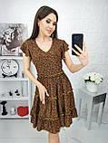 Платье летнее с пышной юбкой из натуральной ткани цветочный принт р.42-44,46-48,50-52 код 285/1Э, фото 6