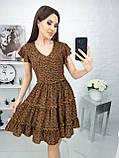 Платье летнее с пышной юбкой из натуральной ткани цветочный принт р.42-44,46-48,50-52 код 285/1Э, фото 7