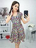 Платье летнее с пышной юбкой из натуральной ткани цветочный принт р.42-44,46-48,50-52 код 285/1Э, фото 3