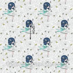 Х/б ткань с девочками с синими волосами (рулоном).