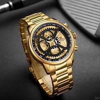 Часы мужские наручные золотые водонепроницаемые кварцевые противоударные Naviforce NF9150 Gold-Black Оригинал