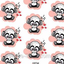 Х/б тканина з пандами в навушниках, колір персиковий (рулоном).