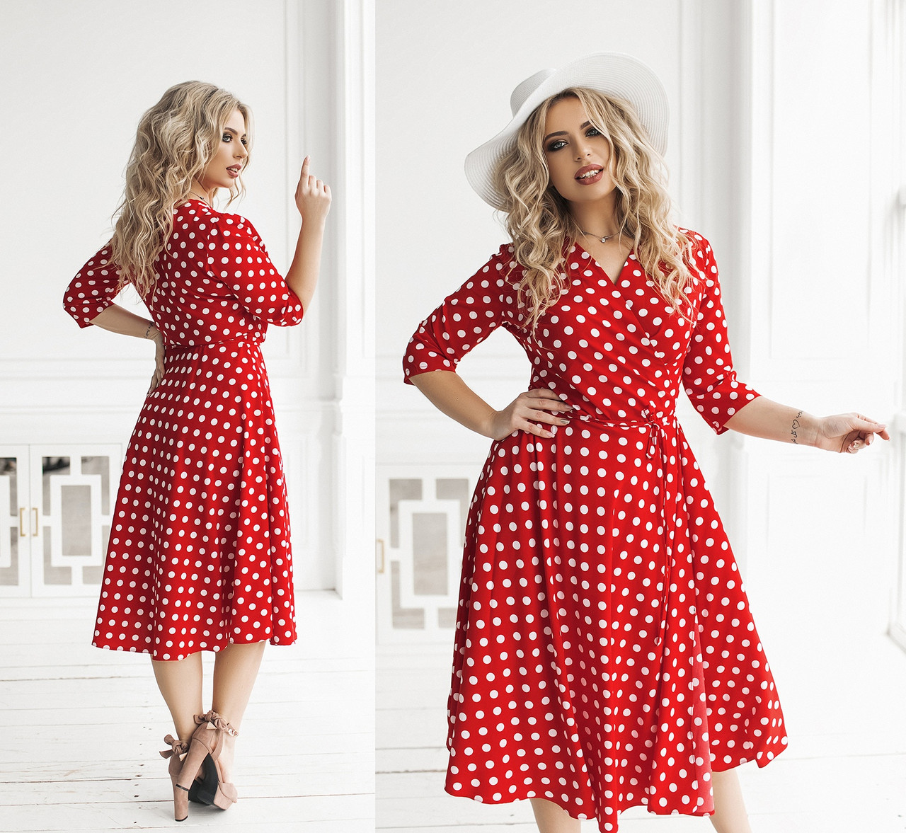 Женское платье на запах большого размера.Размеры:50/52,54/56,58/60+Цвета