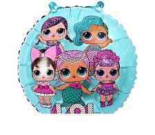 """Фольгированный шар круглый куклы Лол голубой диаметр 45 см 18"""""""