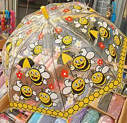 Детский желтый зонт «Пчелка» с прозрачным куполом
