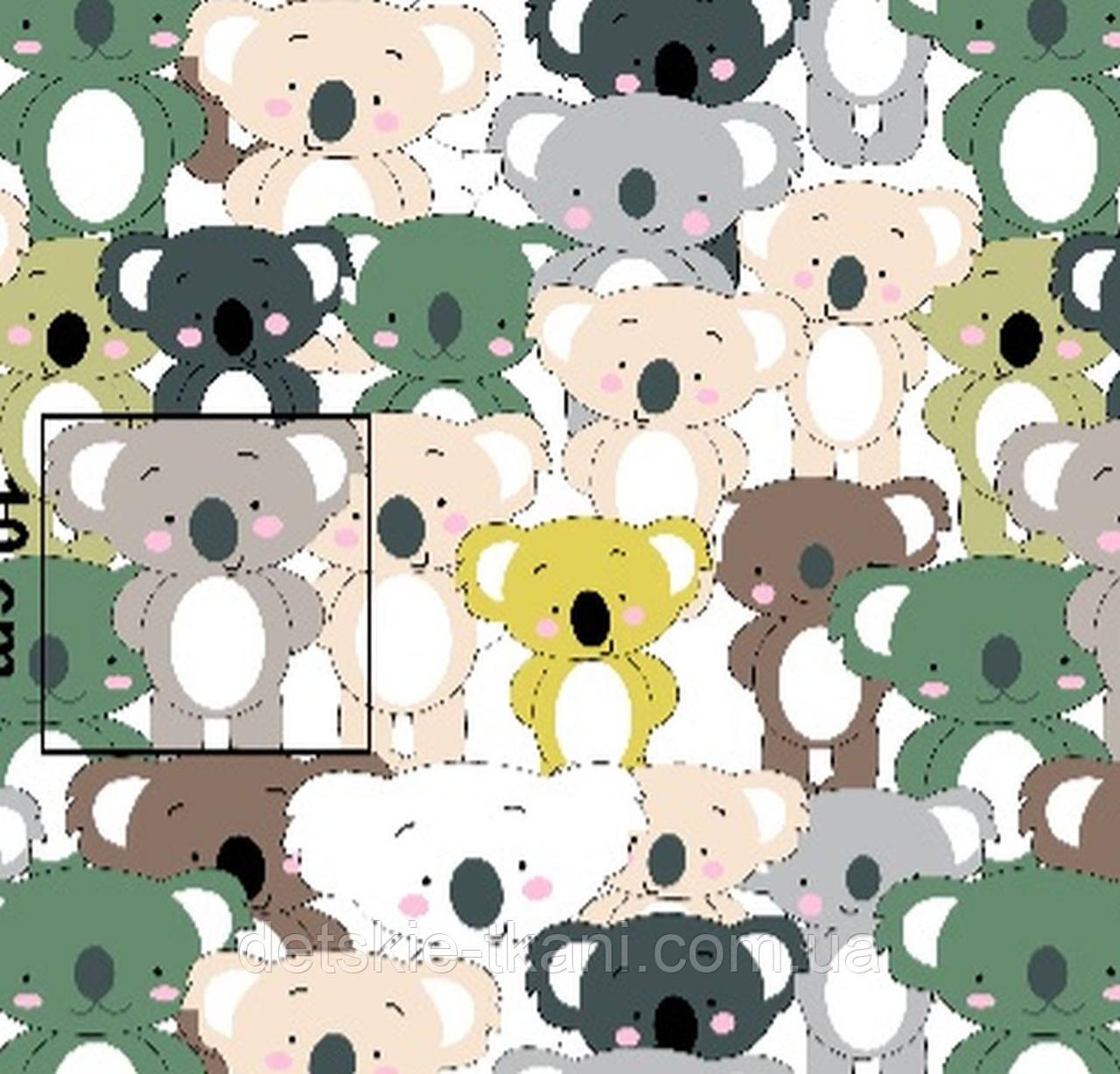 """Х/б ткань """"Зелёные коалы"""" (оптом)."""