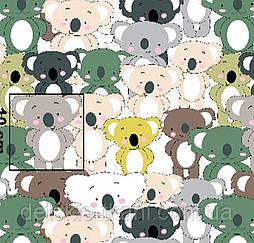 """Х/б тканина """"Зелені коали"""" (оптом)."""