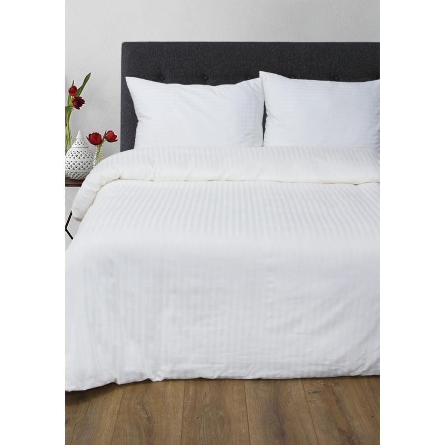 Постельное белье Lotus Отель - Сатин Страйп белый 1*1 семейный (Турция)