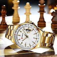 Наручные мужские часы кварцевые золотого цвета водонепроницаемые Curren 8375 Gold-White Оригинал