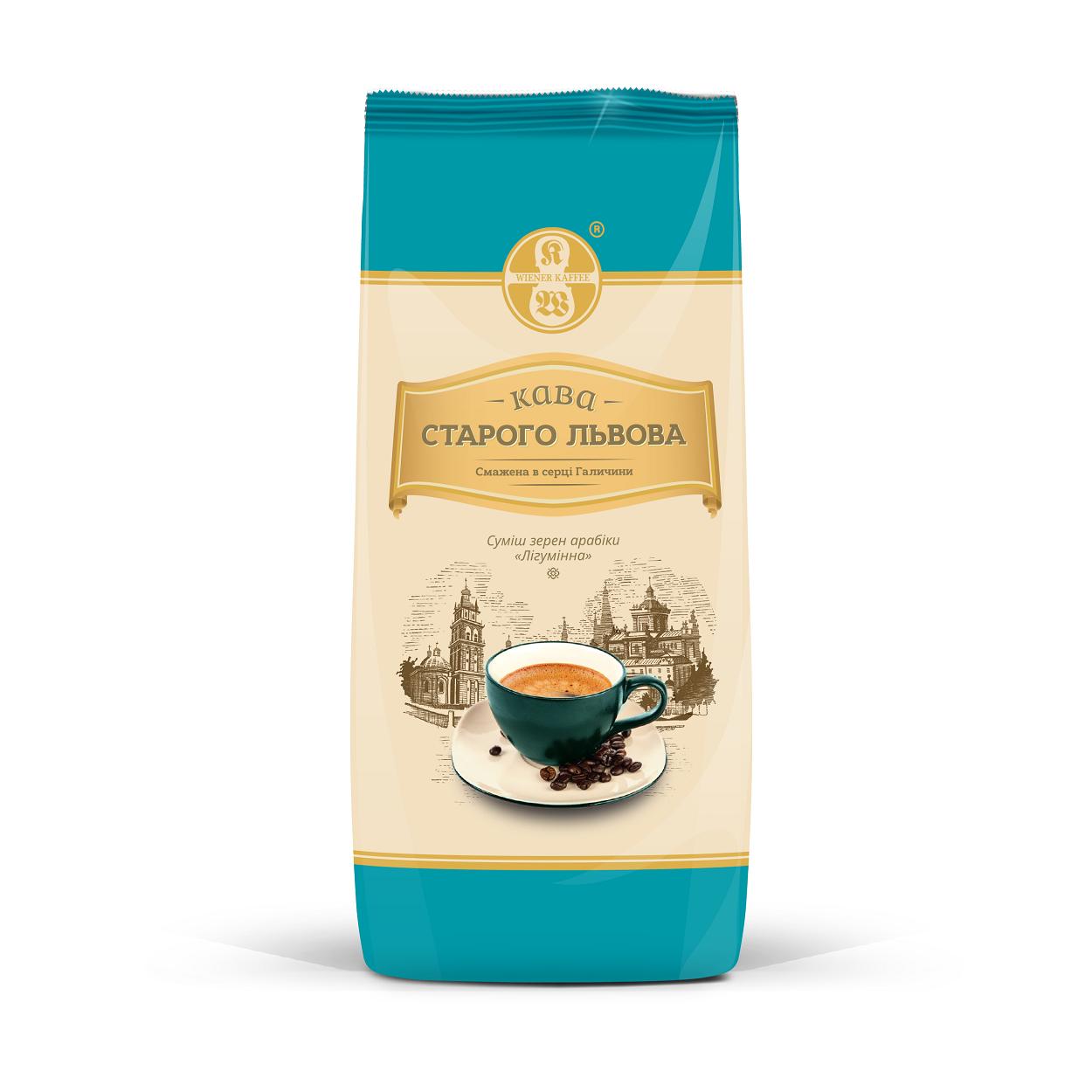 Кофе в зернах Кава Старого Львова Лігуміннас ароматом ирландского крема 1000 грамм в фольгированной упаковке