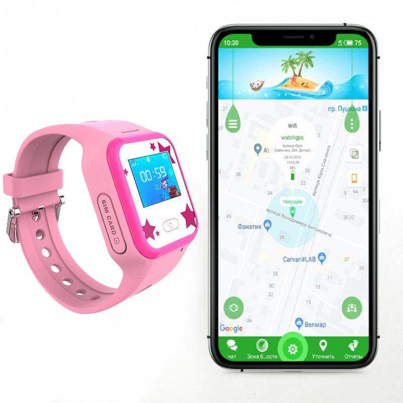 Детские GPS часы-телефон JETIX Tiny 2 Kid с виброзвонком и WiFi (Pink)