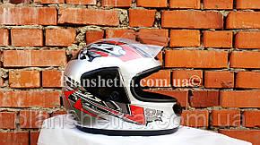 Шолом для мотоцикла Hel-Met 101 сірий з червоним, фото 2