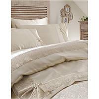Набор постельное белье с покрывалом пике Karaca Home - Tugce krem 2018-2 кремовый евро