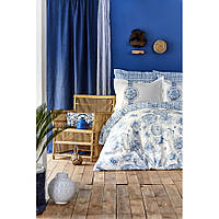 Постельное белье Karaca Home - Felinda mavi 2019-2 голубой пике 220*230 евро