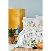 Постельное белье Karaca Home - Hinata yesil 2019-2 зеленый пике 220*230 евро