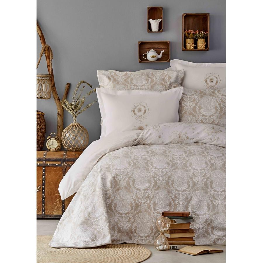 Набор постельное белье с покрывалом Karaca Home - Quatre delux gold 2019-2 золотой евро