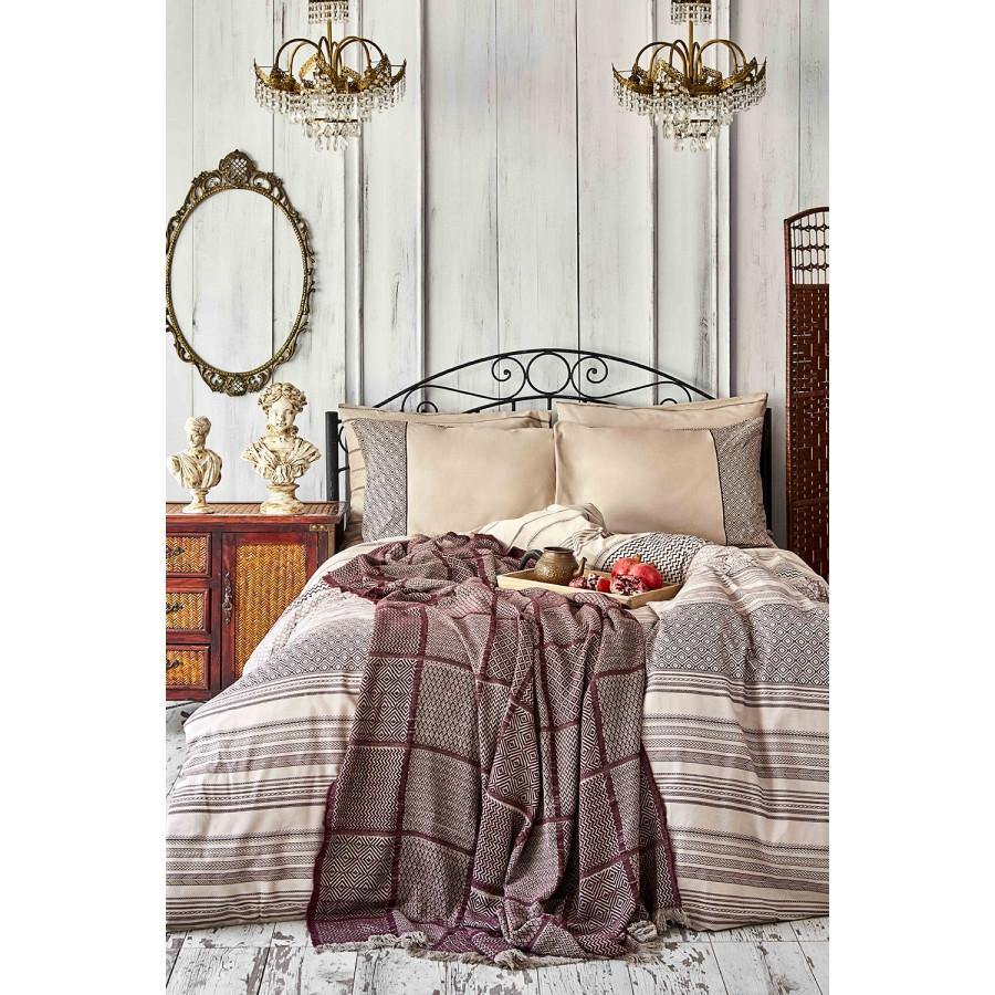 Набор постельное белье с покрывалом Karaca Home - Sadra bordo 2020-1 бордовый евро
