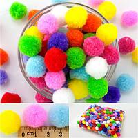 (≈500 шт, Ø2см) Помпоны для творчества, диаметр 18-20мм Цвет - МИКС