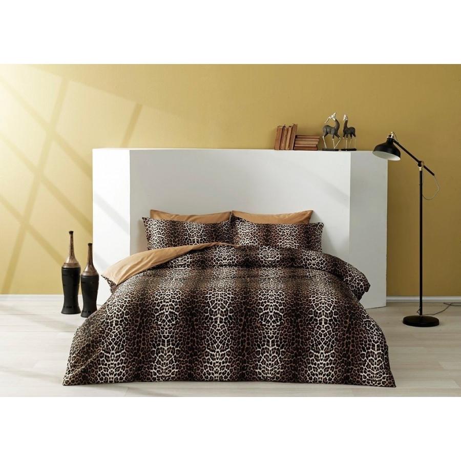 Постельное белье Tac сатин - Leopard kahve кофе евро