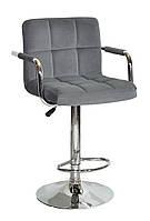Барный стул Арно серый бархат + хром, с подлокотниками