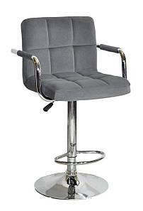 Барный стул ARNO - ARM  Арно серый бархат + хром, с подлокотниками