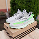 Мужские кроссовки в стиле Adidas Yeezy Boost 350 V2 серые с салатовым, фото 3