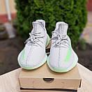 Мужские кроссовки в стиле Adidas Yeezy Boost 350 V2 серые с салатовым, фото 4
