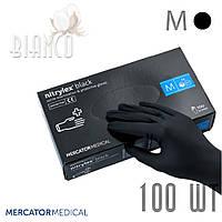 Перчатки нитриловые медицинские (100шт) без пудры Mercator Nitrylex Black Чёрный. Размер: M