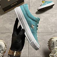Кеды женские Converse One Star Premium Suede Turquois .Стильные женские кеды.ТОП качество!!! Реплика