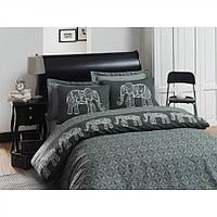 Постельное белье Eponj Home - Elepante antrasit-fume серый 200*220 ранфорс евро