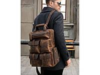 Рюкзак для ноутбука кожаный мужской винтажный кэжуал casual стильный
