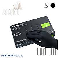 Перчатки нитриловые медицинские (100шт) без пудры, Mercator Nitrylex Black Чёрный. Размер S
