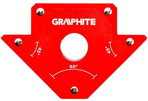 Зварювальний кутник магнітний Verto GRAPHITE 56H902, 102 x 155 x 17 мм, кут 45 або 90 град., сила 11