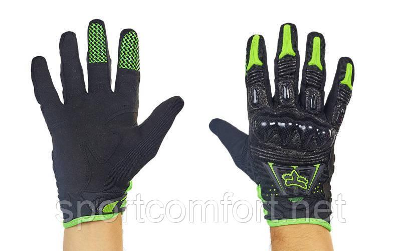 Мотоперчатки кожаные Fox MS-368-BG  черный-салатовый