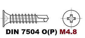 D4.8 07.05 DIN 7504 P (Саморез с потайной головкой и буром)