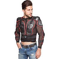 Моточерепаха мотозащита Fox (PL, пластик, сетчатая ткань, черный-красный)