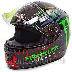 Мотошлем интеграл (full face) со съемным утеплителем Tanked Racing T159 MONSTER (ABS,р-р L-XL-58-62, черный-красный-зеленый)