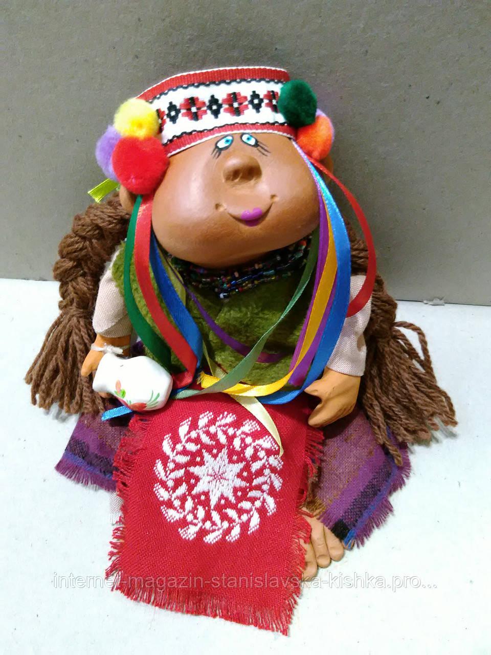 Лялька ГУЦУЛКА авторська ручна робота 35 см, текстиль, кераміка