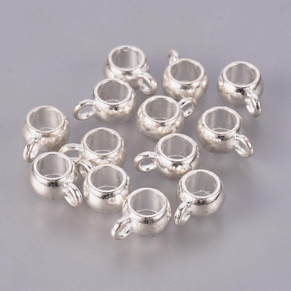 Металлические бейлы-бусины с кольцом 10х7 мм серебро для рукоделия
