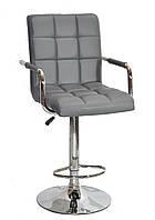 Барный стул Августо серая экокожа + хром, с подлокотниками